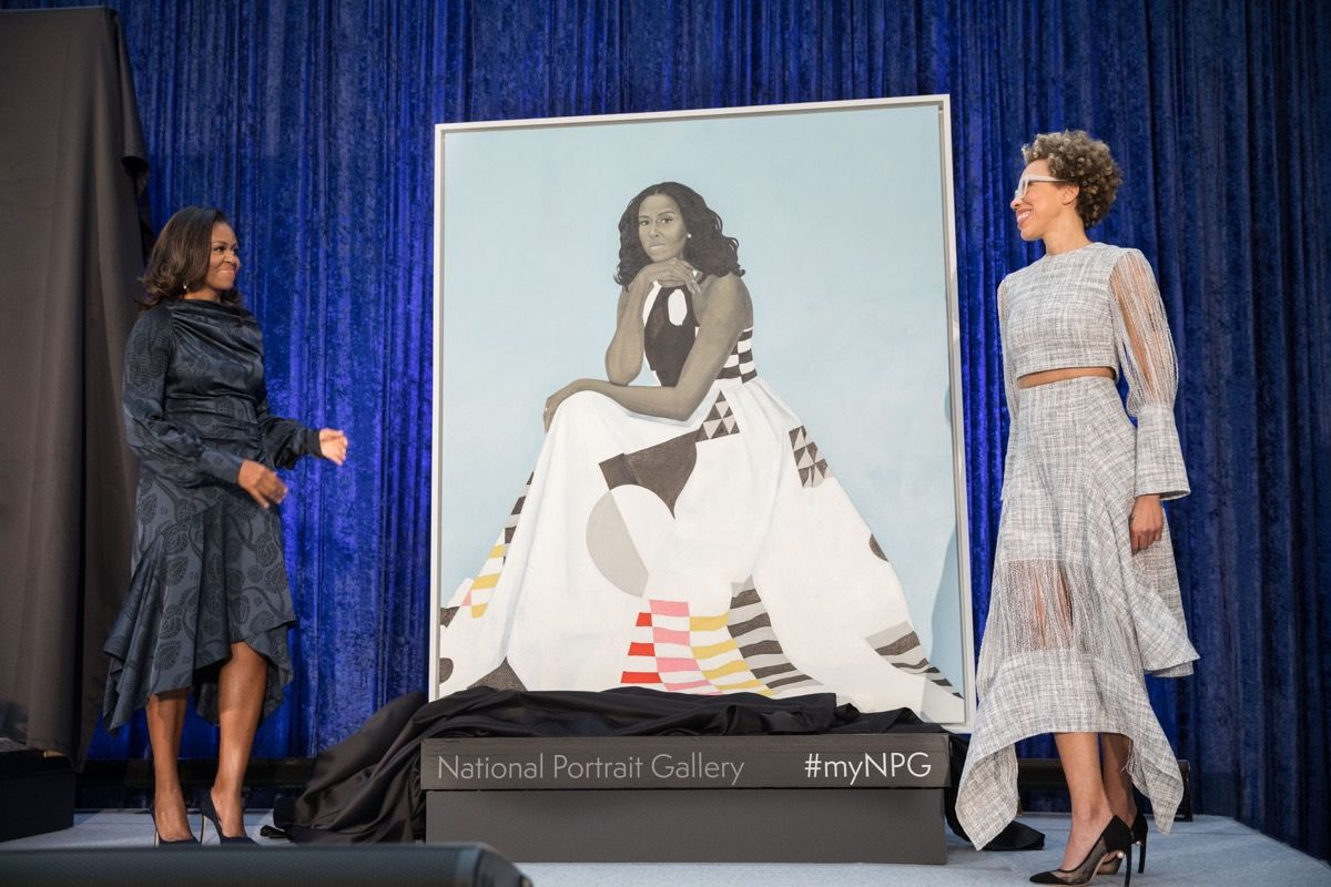 Amy Sherald with Michelle Obama and historic painting