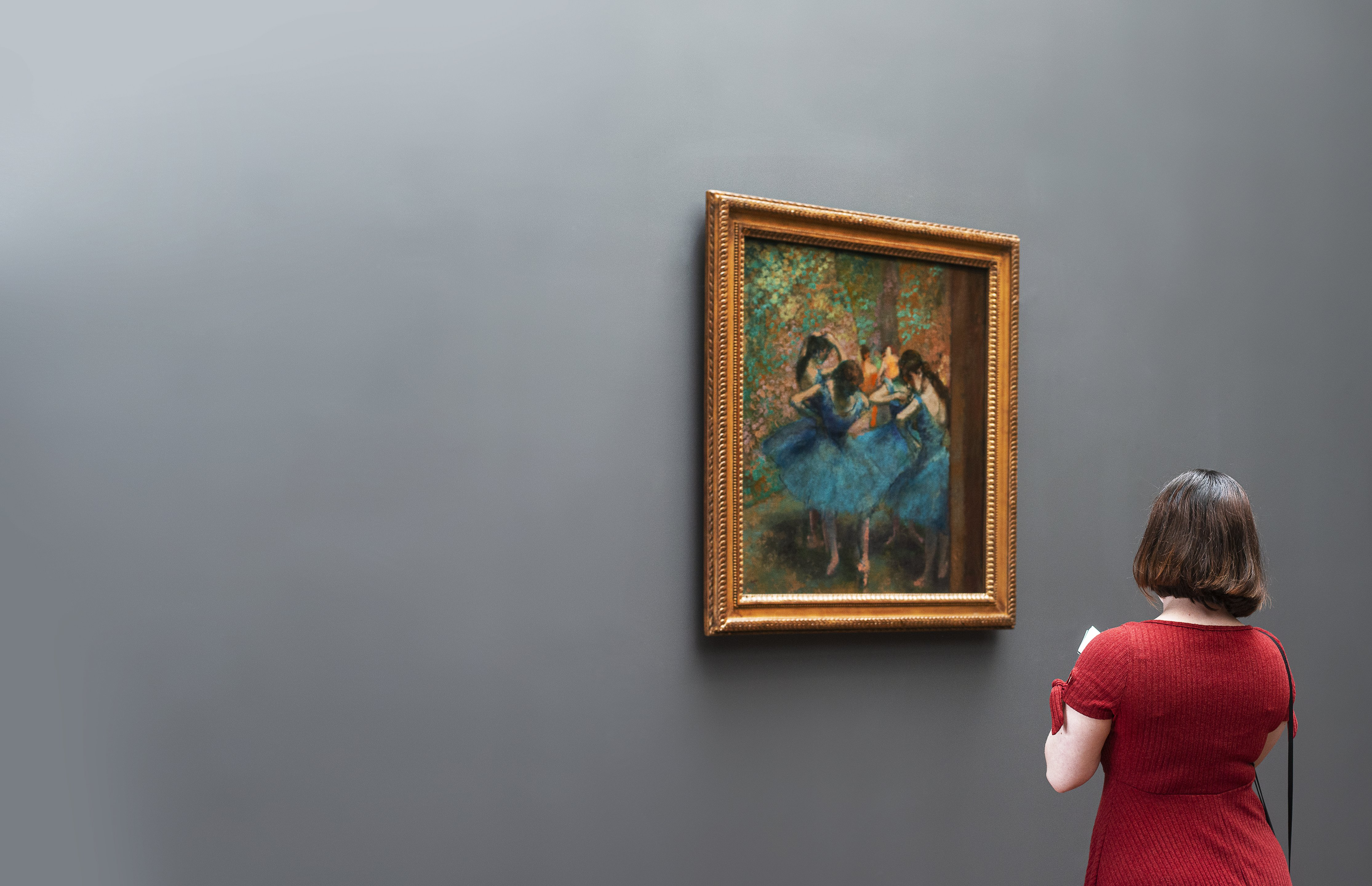 certificate of authenticity - A Woman In An Art Gallery Ponders A Degas Painting Photo